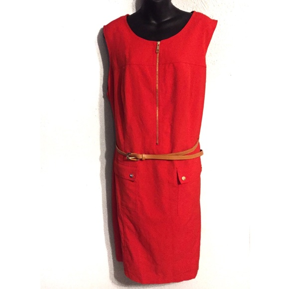 Sharagano Dresses & Skirts - Sharagano Plus Red Zip Front Dress Size 22W